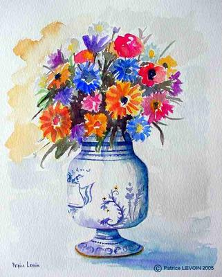 005 aquarelle bouquet de fleurs artiste peintre for Bouquet par internet