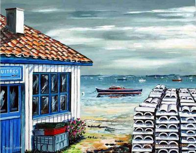 026 acrylique le bassin d 39 arcachon cabane d 39 ostr iculteur artiste peintre aquarelles. Black Bedroom Furniture Sets. Home Design Ideas
