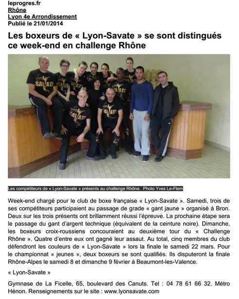 Article du Progr�s - 21/01/14
