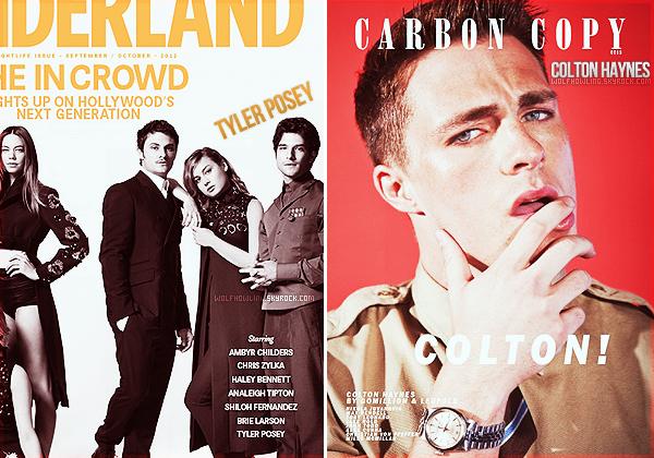 __ Deux des acteurs de notre cast favori ont fait la couverture de magazines ce mois-ci : Tyler Posey _pour le magasine Wonderland et -Colton Haynes- pour Carbon Copy. _Vous aimez ?