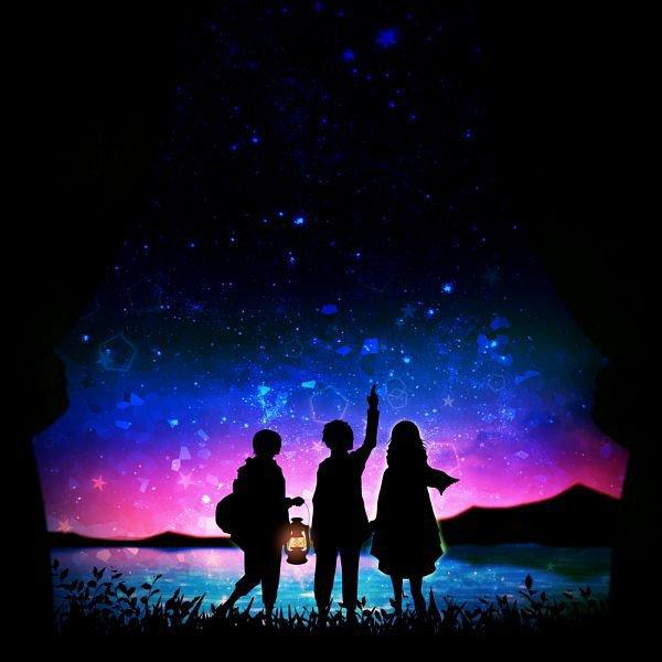 Amis contemplant la galaxie