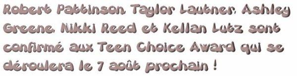 Confirmation d'acteurs aux Teen Choice Award