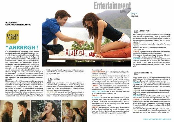 Traduction de l'interview de Bill Condon, Robert Pattinson & Kristen Stewart pour EW