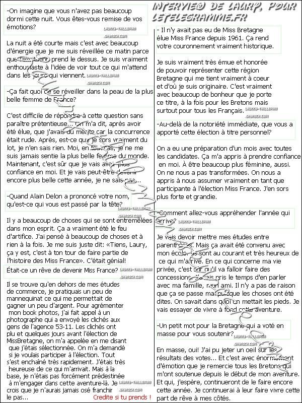 . 05/12 Laury revient sur son couronnement pour LeTelegramme.fr. .