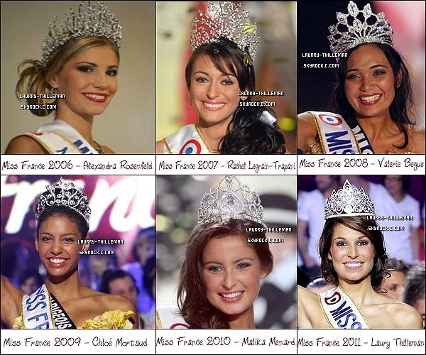 . 13/01 Découvre ou récouvre toutes les Miss France depuis Miss France 2ooo. Quelles sont tes préférez ? Quelle est ta couronne préférez ? Quelle est celle que tu aimes le moins ? En as tu déjà rencontré une ?   .