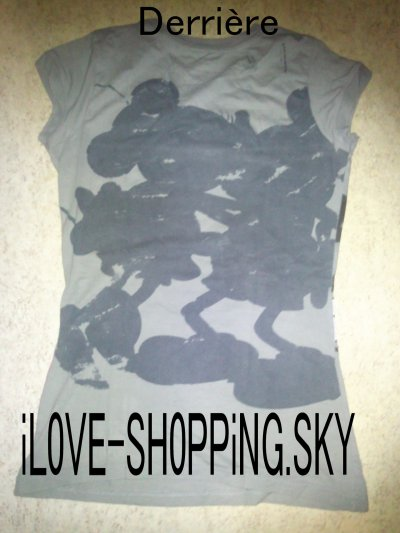 T-shirt long gris manche courte Mickey & Minie