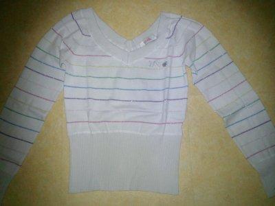 Pull blanc a rayure plusieurs couleurs