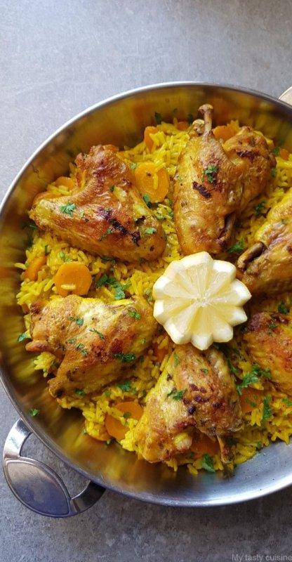 Ailes de poulet, riz et carottes