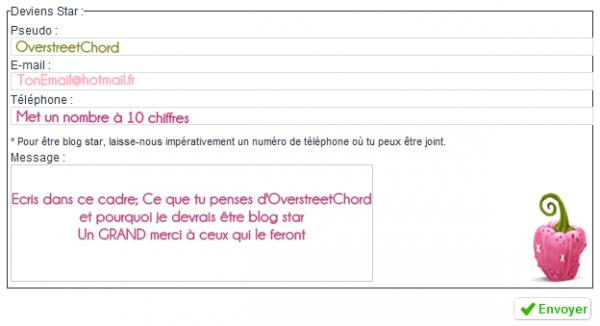 Pour qu'OverstreetChord devienne BlogStar!