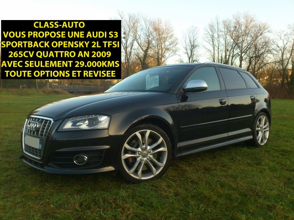 superbe audi s3 sportback quattro opensky 2l tfsi 265cv an 01 2009 vendu le 07 03 2013. Black Bedroom Furniture Sets. Home Design Ideas