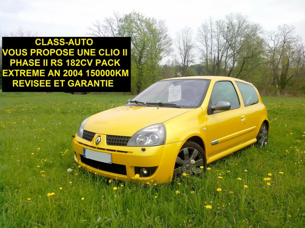 TRES BELLE CLIO II RS 182CV PACK EXTREME AN 2004 150000KMS (VENDU LE 08/05/2013)