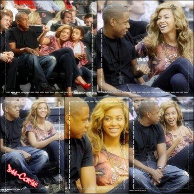 Beyoncé Jay-z & Juelz au match des Nets