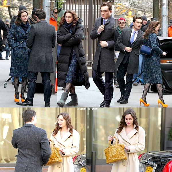 . 5 MARS / Leighton sur le tournage de Gossip Girl en compagnie du charmant Ed Westwick.Retour de Chair? En tout cas, la tenue de Leighton est pas super, mais comme c'est pour le tournage de la série... .