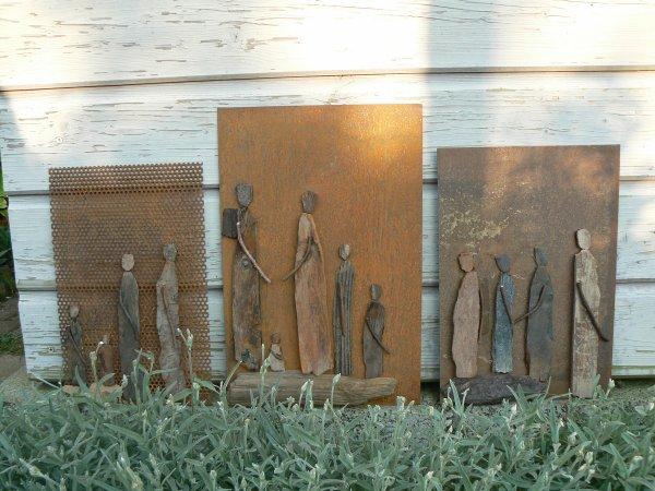 plaque métal personnages bois flottés