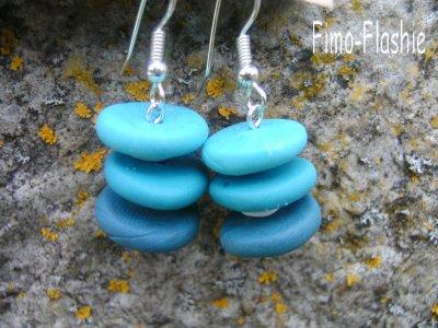 Boucles d'oreilles palets bleus