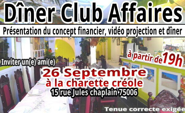 Dîner Club Affaires le 26/09/2015