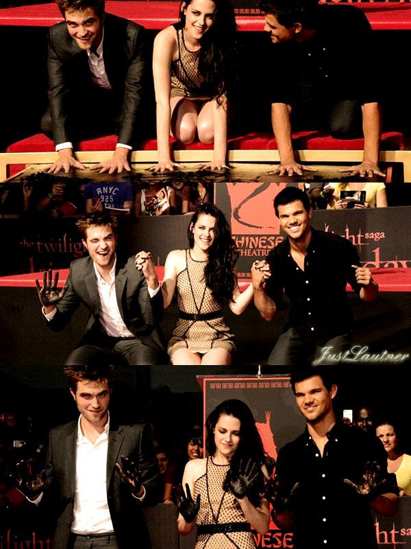 03.11 - Taylor a laissé ses emprintes sur le Hollywood Walk Of Fame devant le Grauman's Chinese Theatre à Hollywood pour la saga Twilight accompagné de ses co-stars Robert Pattinson et Kristen Stewart