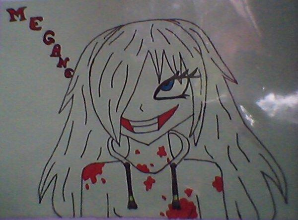 dessin de mon perso megane avec la bouche de Jeff <3 <3
