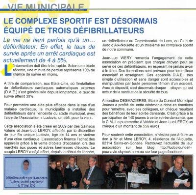 """Article de journal """"SAINS POINT COM"""""""