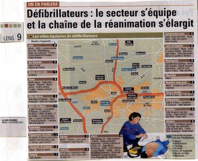 défibrillateurs: la carte publiée dans la voix du nord du 12.10.2010...regardez l'avancée