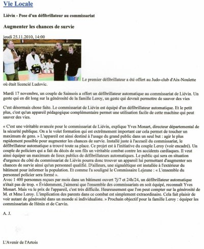 Augmenter les chances de survie...Avenir de l'Artois du 25.11.2010
