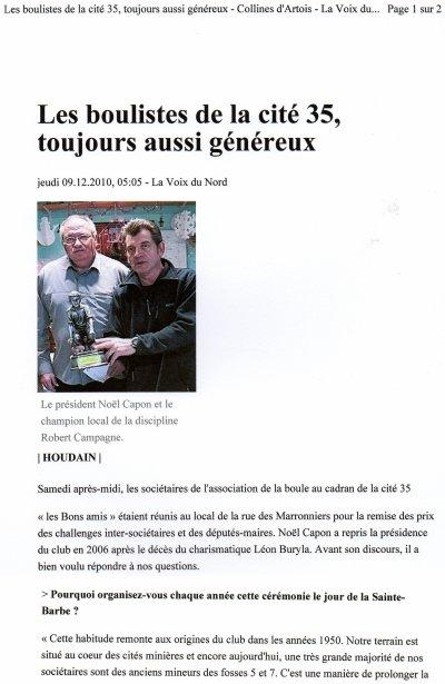 Les boulistes de la cité 35 de HOUDAIN font don de 60 euros à notre association.