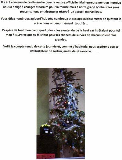 """DON D'UN DEFIBRILLATEUR A L'ASSOCIATION """"DONNE UN BUT A TES REVES""""  (dimanche 26 décembre 2010)."""