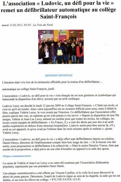 """article """"VOIX DU NORD"""" remise du défibrillateur au collège de BOUVIGNY"""