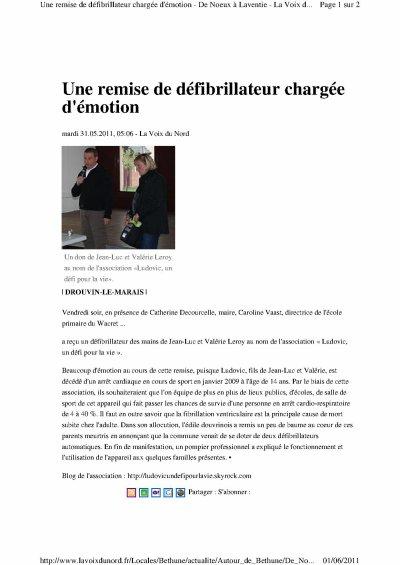 DON D'UN DEFIBRILLATEUR A L'ECOLE DE DROUVRIN LE MARAIS (le 27 Mai 2011).