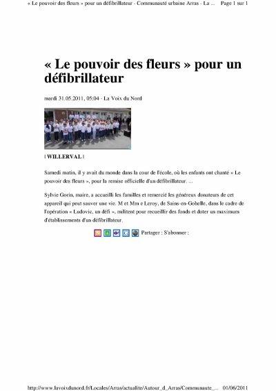 DON D'UN DEFIBRILLATEUR A L ECOLE DE WILLERVAL 62 (samedi 28 mai 2011)