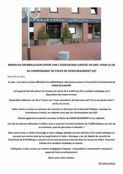 DON D'UN DEFIBRILLATEUR DISPONIBLE A L ACCUEIL DU COMMISSARIAT DE POLICE DE HENIN BEAUMONT 62