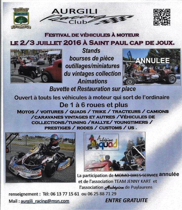 le prototype du flyers pour le festival de St Paul Cap de Joux 2016