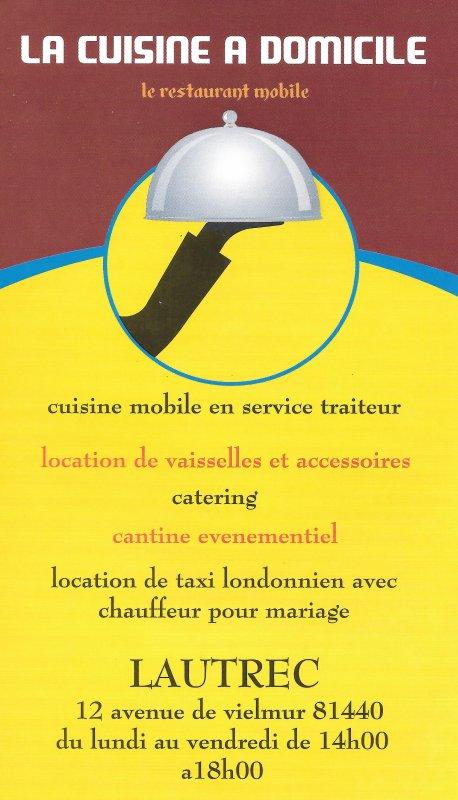 La cuisine à domicile - Restaurant mobile et location de vaisselle à Lautrec, entre Castres et Albi dans le Tarn