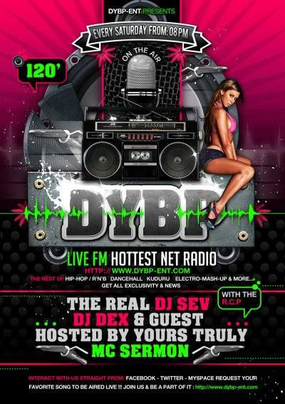 DYBP Live Fm is bout to broadcast live in a few time ...let us fix a date ...but here's the promo flyer!!!!