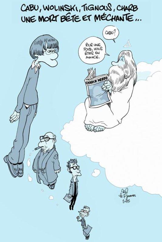 Romy Roynard Le joli dessin hommage de Zep à Cabu, Wolinski, Tignous, et Charb #JeSuisCharlie