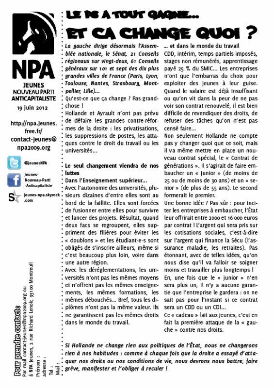 Tract hebdo des jeunes du NPA : le PS a tout gagné... Et ça change quoi ?