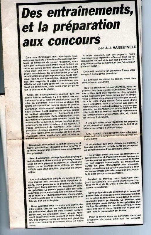 Des entrainements et la préparation aux concours (1987)