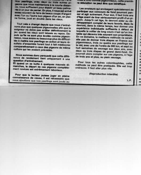 Propos sur l'entrainement des jeunes et son incidence sur le jeu des yearlings (1988)