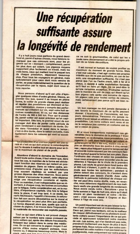 Une récupération suffisante assure la longévité de rendement (1988)