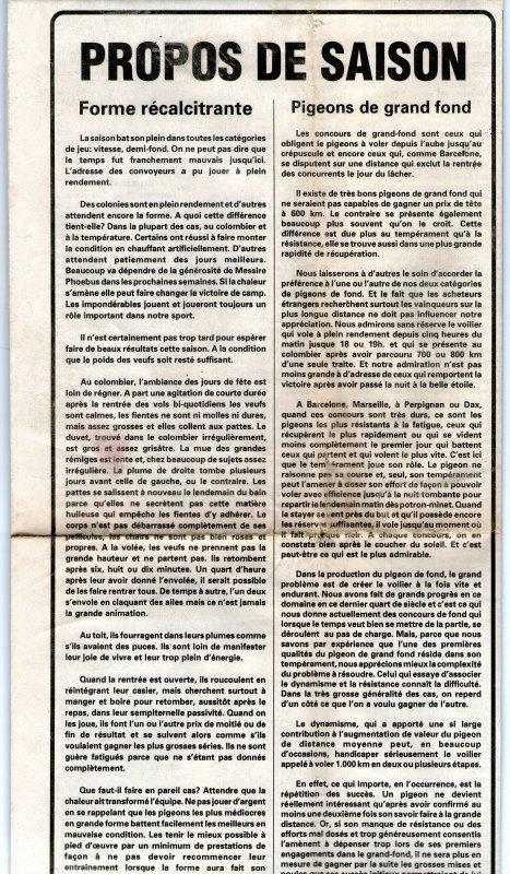 Forme récalcitrante/Pigeons de grand fond (1990)