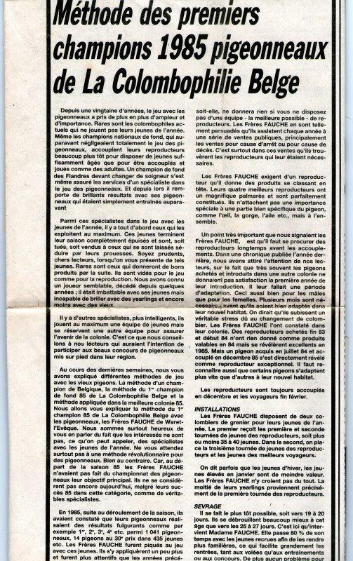 Methode des premiers champions 1985 pigeonneaux de la Colombophilie Belge (1986)