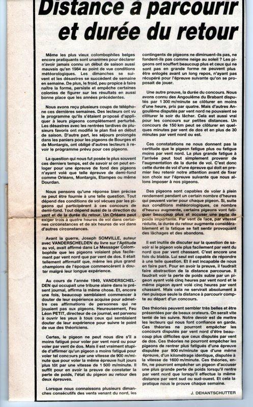 Distance à parcourir et durée du retour (1984)