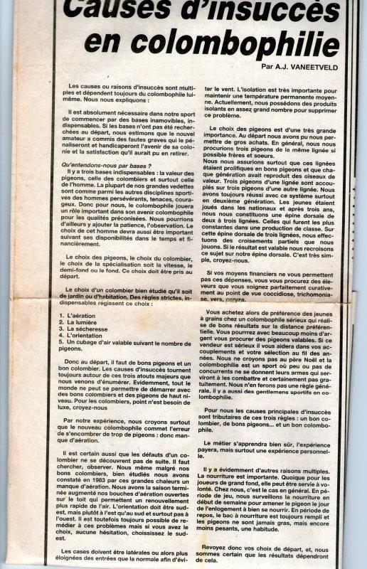 Causes d'insuccès en colombophilie (1984)