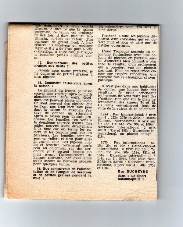 Quinze questions à Jules Tronquoy Richebourg  (l'union colombophile 1976)