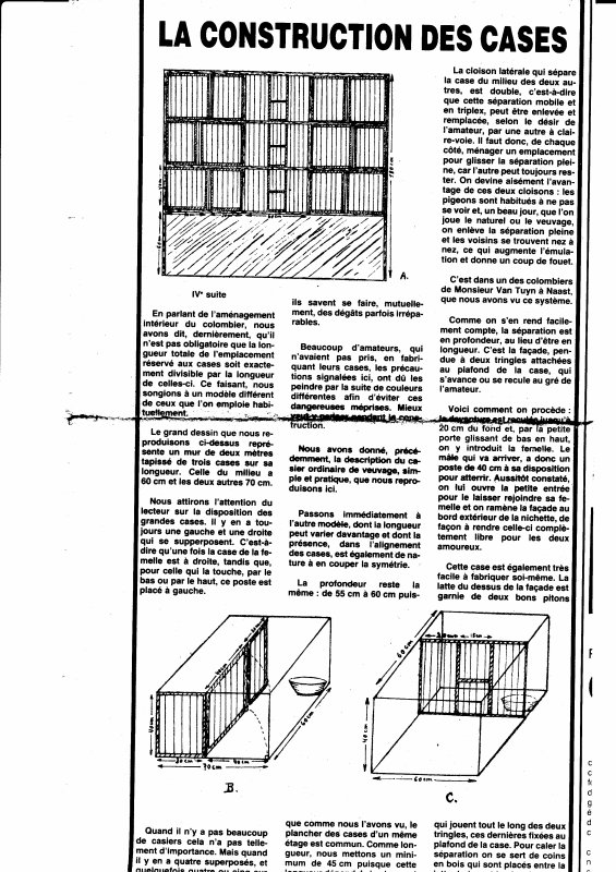 Construction ou perfectionnement d'un colombier (1982)