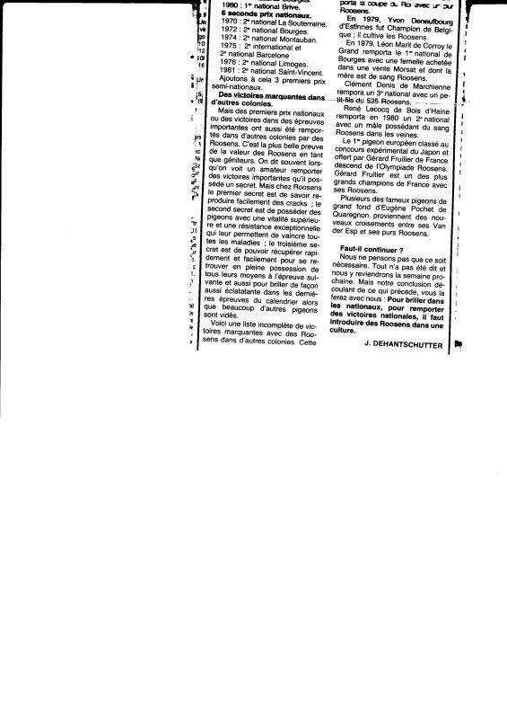 Pour briller dans les concours nationaux, il faut introduire des Roosens de Leernes (1982)