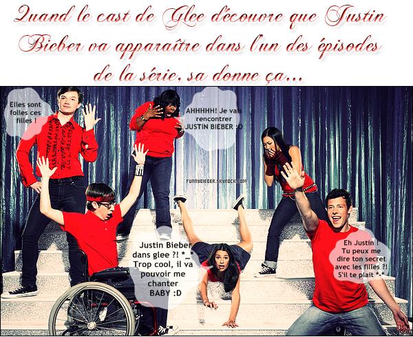 """- - Justin dans GLEE ou pas ?! -La production de la série phénomène Glee a proposé au teenager le plus célèbre du monde de faire une apparition dans un épisode qui lui serait entièrement consacré, comme ce qui a déjà été fait avec Madonna ou Britney Spears. Mais lorsque l'on a seize ans et la terre entière à ses pieds, on est visiblement exigeant. Justin voulait que Cheryl Cole joue a ses côtés dans la série Glee. Il a d'ailleurs déclaré : """" Cheryl Cole doit faire partie de la série. Ça tombe sous le sens. Glee parle de personnes magnifiques qui savent chanter et danser, c'est tout le portrait de Cheryl.""""  - Mais finalement, ni Justin, ni Cheryl ne jouera dans la série. En effet, après avoir lancer pleins de rumeurs sur un éventuel épisode dédier à Justin Bieber où lui même serait le guest star, le producteur Brad Falchuk, pense qu'il n'y aura rien de tout ça. Il a insisté sur la fait que le show n'avait aucune intention de produire un épisode basé sur la musique de Justin Bieber.   - Le producteur a tenu à rétablir la vérité : """"Tout a été assez fou ce week-end. Nous ne ferons pas d'hommage à Justin Bieber. Cela n'a jamais été l'idée.""""  Enfaite, tout tournera autour du couple Sam (Chord Overstreet) / Quinn (Dianna Agron). En tentant de l'impressionner, le jeune décidera de lui chanter une chanson de Justin Bieber ! D'autres garçons voudront par la suite s'engager dans la même voie. Selon Brad Falchuk, ce genre de citation est très courante dans Glee : """"Nous faisons cela tout le temps, pour différents artistes. Si vous êtes rédacteur et que vous mêlez Bieber et Glee, vous allez faire de l'audience.""""  Source : excessif.com/ people.plurielle.fr Texte modifié par mes soins ! - -"""