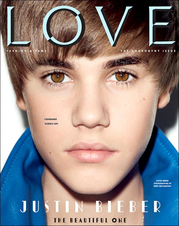 """- - Justin fait la couverture du magazine anglais """" LOVE """" qui sortira le 7 Février prochain. - -"""