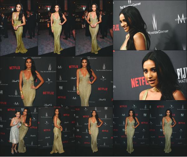 - 08.01.17 ─ Shay Mitchell était présente au « Weinstein Company and Netflix Golden Globe Party » à Los Angeles ! [/s#00000ize]Shay portait une magnifique robe couleur or ce soir là, avec un décolleté plutôt plongeant, qui lui va d'ailleurs très bien ! Son make up est aussi réussi. -