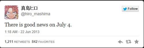 Une annonce d'Hiros Mashima prévut pour le 11 Juillet